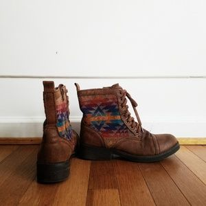 Mossimo Supply Co. Shoes - Mossimo brown Aztec combat ankle boots
